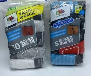 Boy's Sizes 6-20 Fruit of the Loom Boxer Briefs 5 Or 10 Packs Wicks Moisture