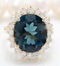 10.40 Carat Natural London Blue Topaz and Diamonds in 14K Solid Yellow Gold Ring