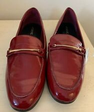 Next Ladies Shoes 8 Flat Loafers Smart Summer Red Penny Bar Vegan New £28