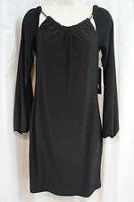 M60 Miss Sixty Dress Sz 2 Black Gold Chain Detail Long Sleeve Cocktail Shift