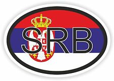 SRB SERBIA FLAG COUNTRY CODE OVAL STICKER bumper decal car SERBIAN LAPTOP HELMET