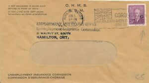 CANADA 1953 COVER, OFFICIAL STAMP #O18 WITH FLAG CANCEL !! D68