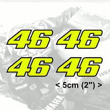 "4 x Valentino Rossi Sticker FLUORESCENT YELLOW 46 vinyl (V2 - 2"" 5cm)"