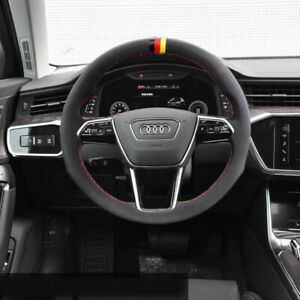 Black Suede Leather Steering Wheel Red Stitch on Wrap Cover For  Audi A6/A7/S7
