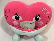 "Heart Plush Pillow 13"" Wide Hallmark Pink Front Pocket Legs Arms Pink White"