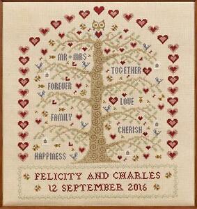 HS Counted Cross Stitch Sampler Kit – Heart & Tree Wedding Sampler