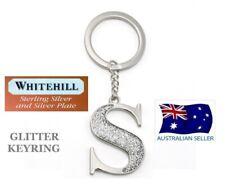WHITEHILL SILVER GLITTER INITIAL LETTER S KEY RING KEYRING