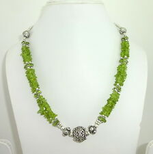 NATURAL PERIDOT GEMSTONE CHIPS BEADED BEAUTIFUL NECKLACE 50 GRAMS