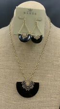 Barse Crescent Necklace & Earrings- Black Onyx & Bronze- New With Tags