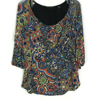 Investments Womens Shirt Size M Medium Petite Blue Orange 3/4 Sleeve Floral Top