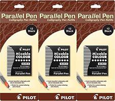 Pack of 3 Pilot Parallel Pen Ink Refills for Calligraphy Pens, Black, 12 Cart.
