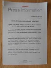 HONDA AGAINST ROAD RAGE orig 2003 UK Mkt Press Release - Brochure