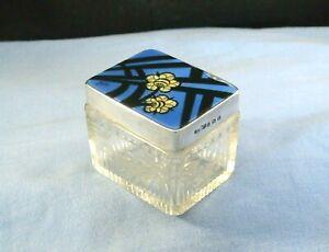 ART DECO ASPREY STERLING SILVER & SIGNED GUILLOCHE ENAMEL ANTIQUE BOX JAR POT