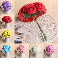 10Pcs Foam Artificial Rose Flowers Wedding Bride Bouquet Party Decor DIY