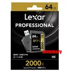 Lexar Professional 64GB SD SDXC 2000x Memory Card UHS-II 300MB/s 4K w/Reader US