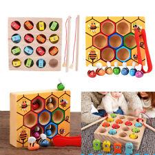 Wooden Montessori Clip Bee Box & Digital Fishing Game Set Kid Education Toy