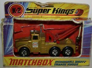 Matchbox Superking K2-3 Scammel heavy wreck truck , Esso, Gold & BOX