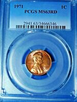 1971 1C RD Lincoln Memorial Cent-PCGS MS63RD--374-1