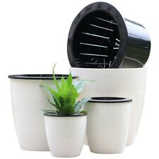 Automatic Self Watering Round Plastic Plant Flower Pot Garden Home Office Decor
