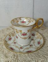White & Gold Paragon England Bone China Pink Rose Tea Cup & Saucer Set 3440X