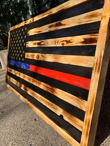 Thin Blue And Red Line Rustic Wooden Flag