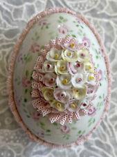 Vintage Irish Dresden Porcelain Spring Pink Lace Flowers Easter Egg Figurine