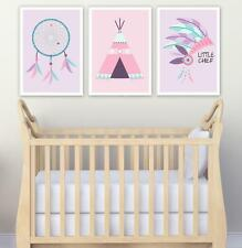 Set of 3 Tribal Wall Art Girl/Boy Baby Bedroom Nursery Teepee Arrows Dreamcatche