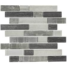 Modern Linear Grey Glass Mosaic Tile Backsplash Kitchen Wall Bathroom MTO0335