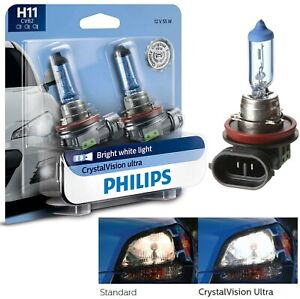 Philips Crystal Vision Ultra H11 55W Two Bulbs Head Light Low Beam Upgrade Lamp