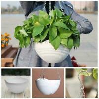 Plastic Hanging Flower Pot Chain Plant Planter Basket Garden Home Decor 4 C I8Y9