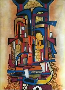 Angel Alfonso Untitled 31X23 Mixed on Canvas Original Painting Cuban Art 2017