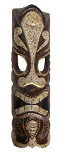 TIKI Mask Wooden Wall Plaque 50cm Hand Carved & Brown/Gold/ Beige MAORI STYLE