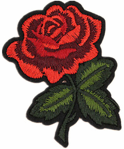 Red Rose Embroidered Iron on / Sew on Patch Applique Badge Flower Woven Patches