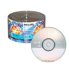 100 Pack Philips Logo Brand Blank CDR CD-R 52X Disc Record 80 min 700Mb