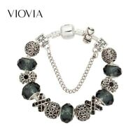 crystal gemstone bowknot kind European Pandora Charms Bracelet