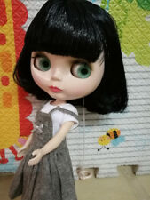 """12"""" Neo Blythe Doll from Factory Nude Doll Black Short Hair With Bang"""