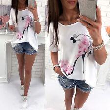 Fashion Women Short Sleeve Tops Summer Beach Casual Loose Blouse Top T Shirt