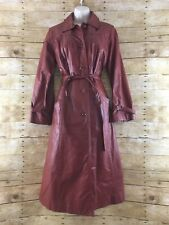 Vtg Leather Trench Coat Womens 11/12 Belted Pleated Quilt Lined Retro Hippie 70s