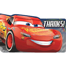 CARS 3 THANK YOU NOTES (8) ~ Birthday Party Supplies Thanks Stationery Cards
