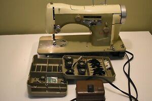 Vintage Necchi BU SuperNova Sewing Machine w/Pedal, Cord, Cams, Accessories