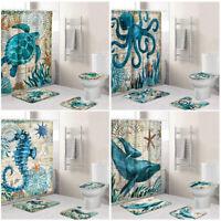 4Pcs Sea Animal Bathroom Non-Slip Lid Pad Toilet Cover Bath Mat + Shower Curtain