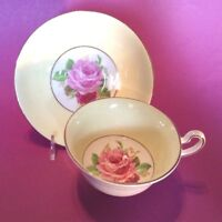 Rosina Pedestal Tea Cup And Saucer - Yellow With Pink And Red Roses  - England