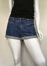Forever 21 Women's Denim Shorts 100% Cotton 5 Pockets Rolled Cuffs Blue Size 28
