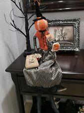 "Halloween Primitive Witch Rag Pumpkin Head Doll Shelf Sitter Tabletop Decor 30"""