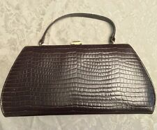 Vintage Handbag Johansen Designer Clutch Purse Brown Croco Fashion Bag