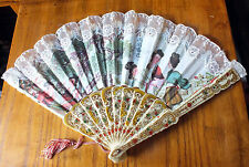 Pretty hand held fan oriental design in cotton and lace