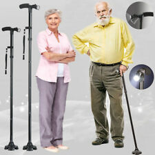 Magic Cane Folding LED Safety Walking Stick 4 Head Pivoting Trusty Base Black US