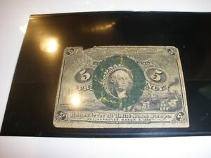 US 1863 5c Fractional Currency 2nd Issue curculated condition