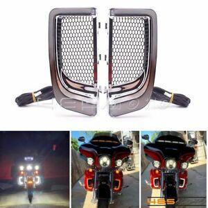 For Harley Touring FLHTK FLTRU 14-20 LED Fairing Lower Grills Turn Signal Light