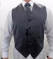 Men's Retro Suit Tuxedo 3 Pc Dress Vest Necktie Hanky Charcoal S,M,L,XL,2XL,3XL